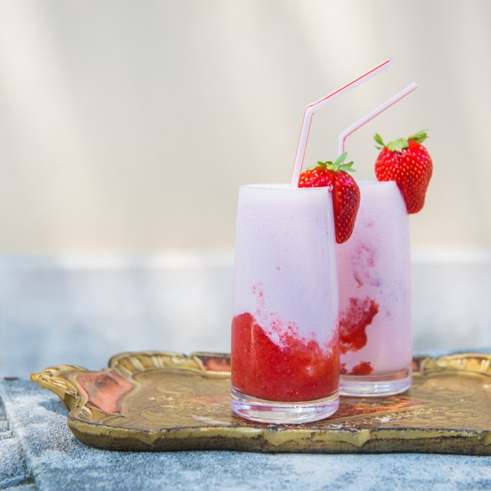 STRAWBERRY MILKSHAKE - On serving tray
