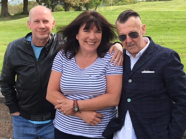 Eddie Jordan (left) and Stuart Campbell-Clark join Pauline Harrier to look over the festival site at Craigie Hill Golf Club