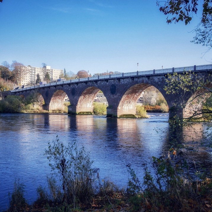 Take a walk along the North Inch for this glorious view of Perth Bridge, known locally as the Auld Brig. Photographed beautifully by local photographer Evelyn Kelly