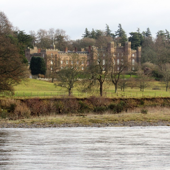 A view of Scone Palace from the other side of the River Tay.