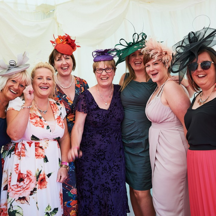 Smiling, happy ladies at Perth Racecourse Ladies Day 2019.