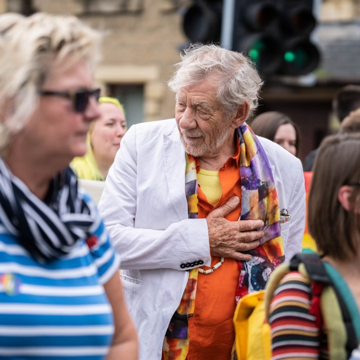 Sir Ian McKellen with his hand on heart. Officially our new favourite Hollywood star. #Pride