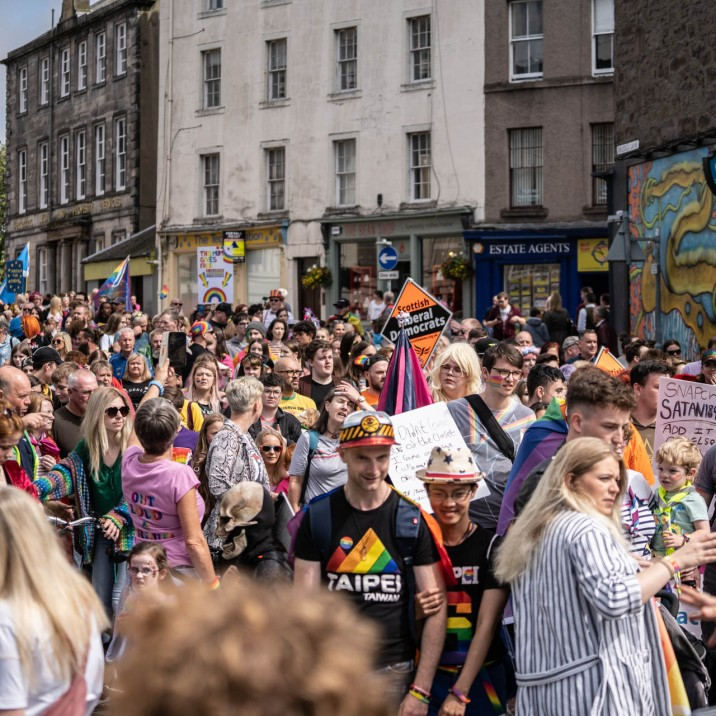 Huge rainbow coloured crowds gathered to celebrate the first ever Pride Parade in Perth. #PerthshirePride