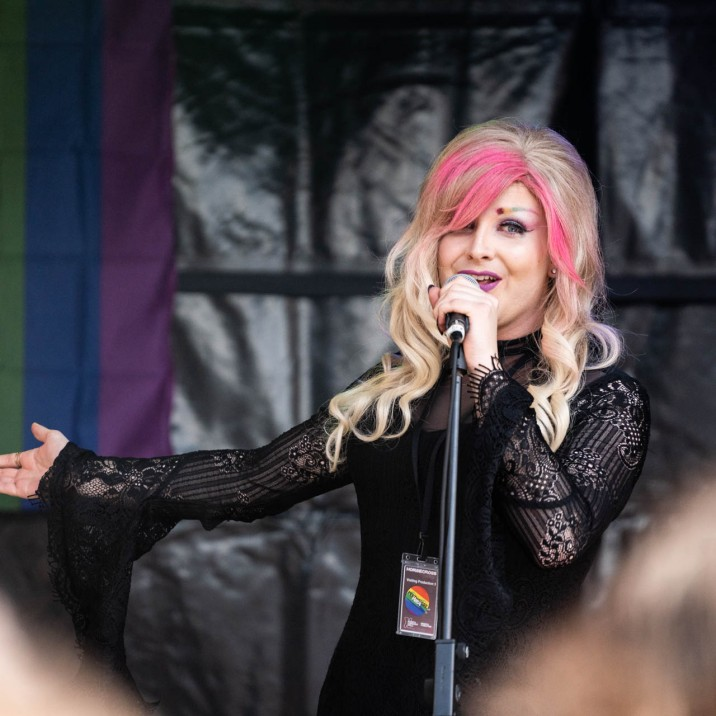 Scarlet Skylar Rae, our favourite first lady of Perthshire Pride, held the crowd in her beautifully manicured hand!