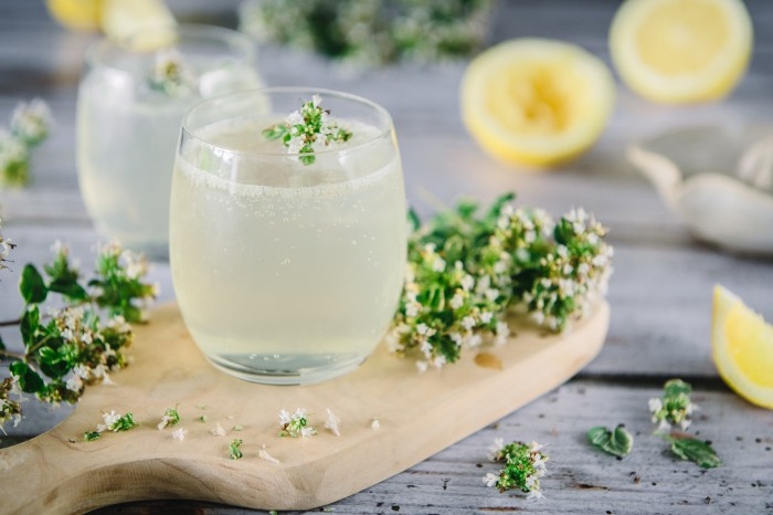 Lemon and Thyme Gin Cocktail Recipe.