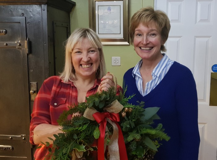 Nicky and Fiona with the finished wreath.